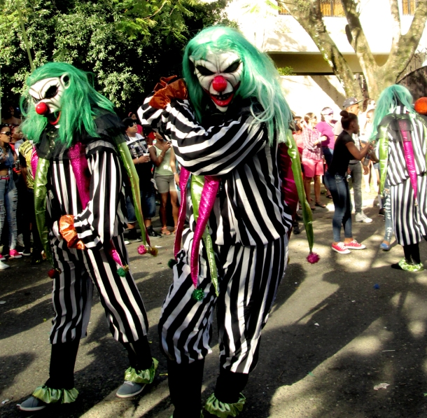 Some truly frightening killer clowns. Forget about the vejigas, those mugs are scary enough. Photo by José Germosen