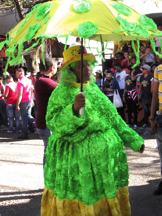 Roba La Gallina, one of the classic characters of Carnaval throughout the country, is a woman (or man) dressed in finery going around town stealing chickens, only to artfully stuff them up her dress. The character can be played or comedy or resplendently rendered in elaborate interpretations of the look, all depending on the person playing the role. Photo by José Germosén