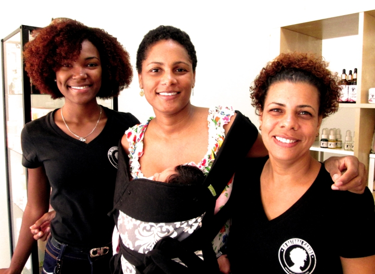 Some of the team at Go Natural Caribe in Santo Domingo's Gascue neighborhood: Receptionist Catherine, Owner/Head Stylist Patricia and Stylist Ingrid